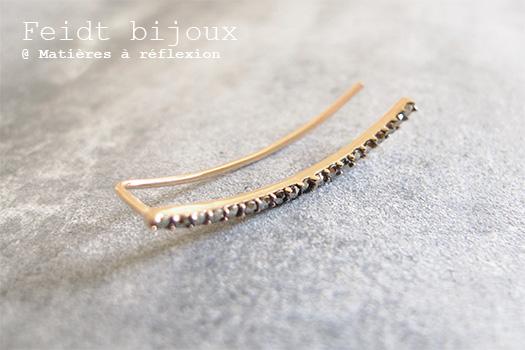 Bijoux Feidt or 9 carats pierres semi précieuses marcassites bijou d'oreille