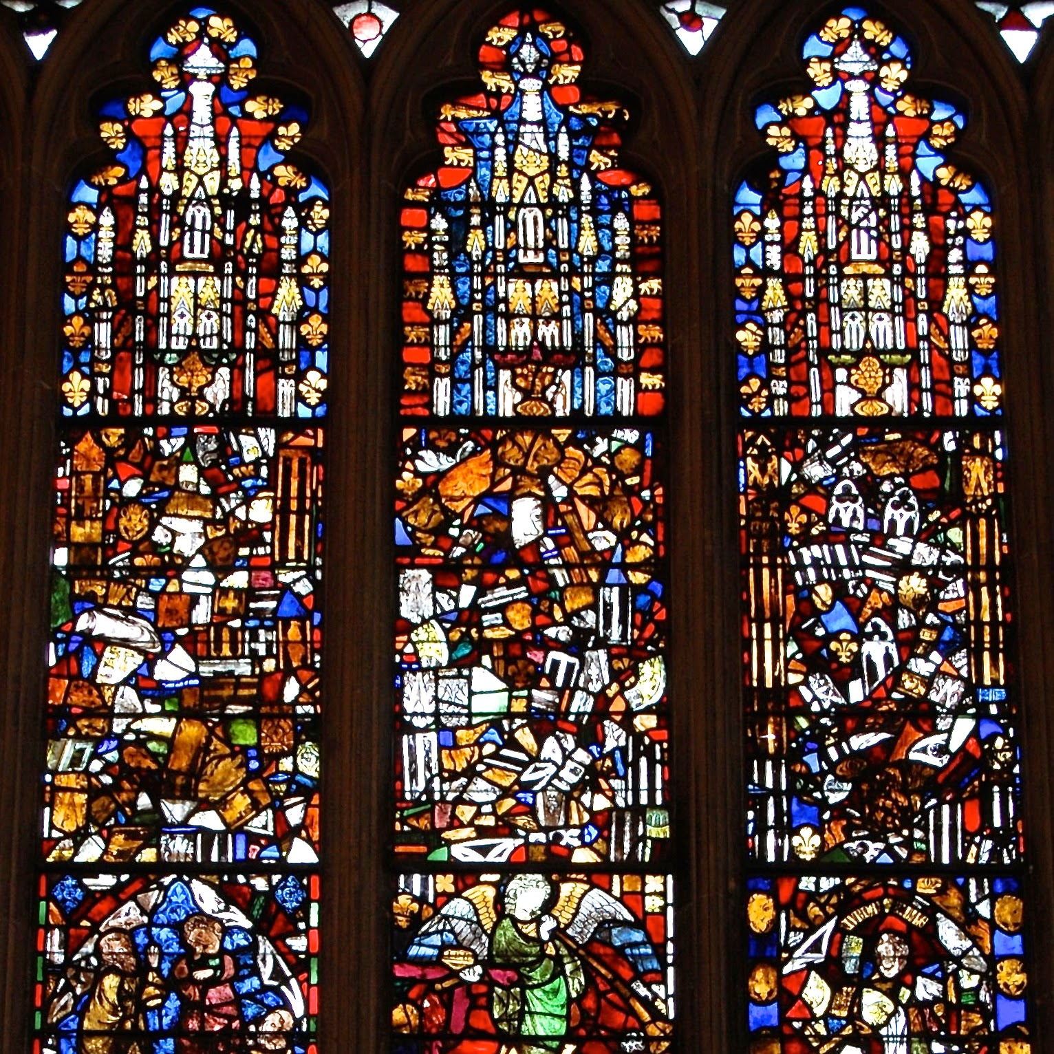 Jumbled stained glass windows in the Lady Chapel of Wells Cathedral