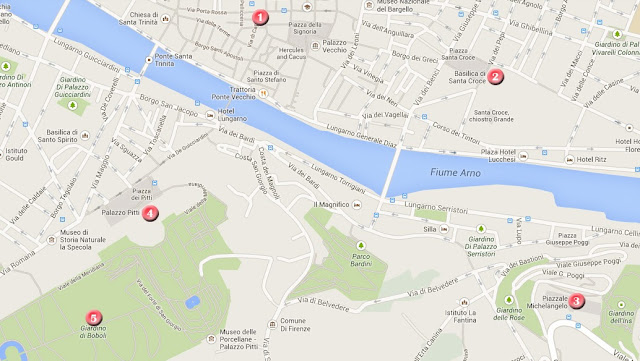 Mapa ruta por Florencia, día 2