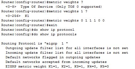 metric weights tos command