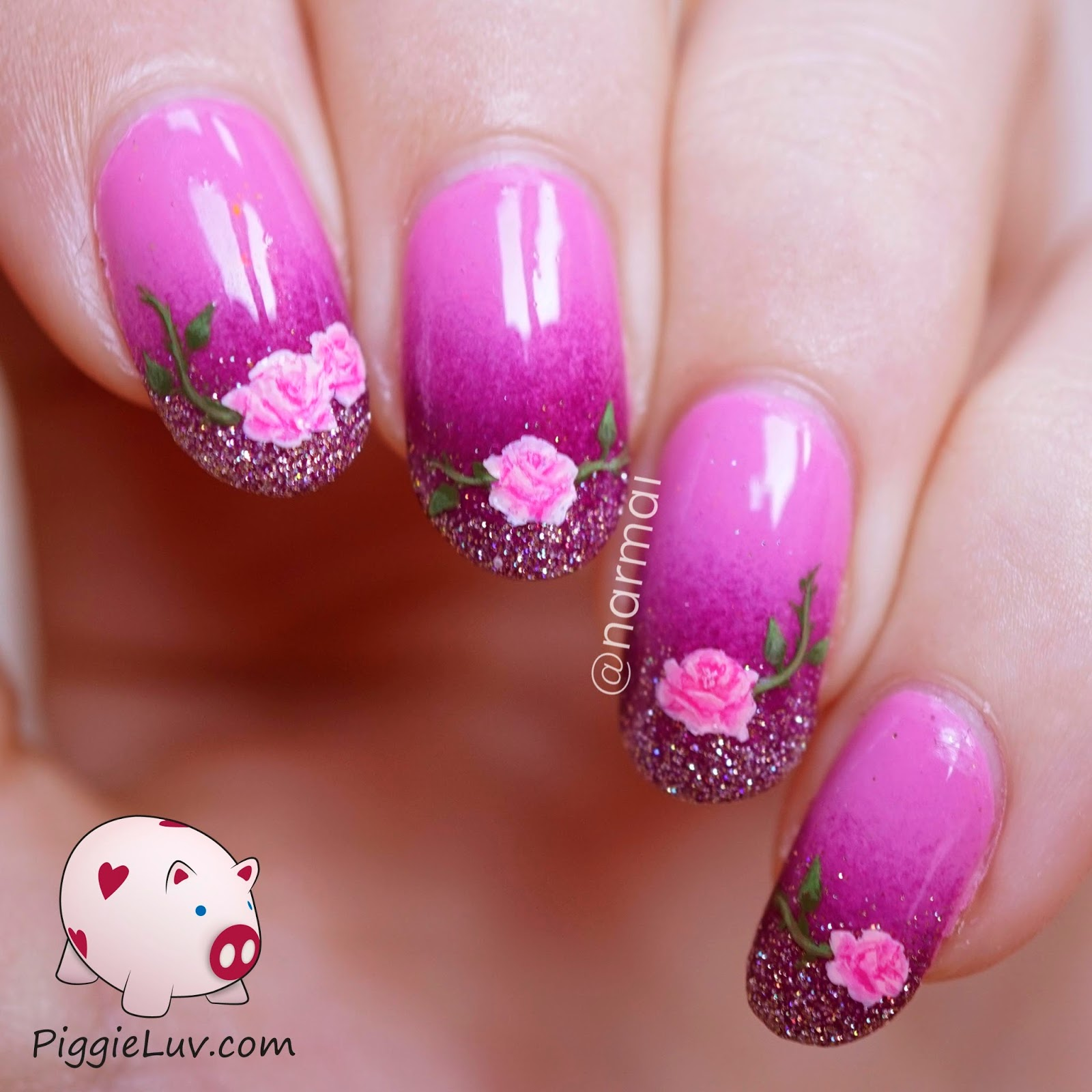 PiggieLuv: Freehand roses nail art for Valentine\'s Day