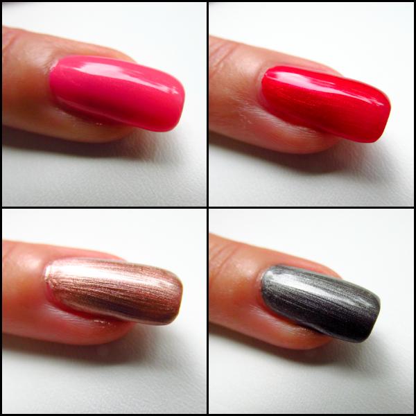 Catrice Metallure Swatches C02 Alluring Pink, C01 Alluring Red, C03 Metalight, C05 Metalfusion
