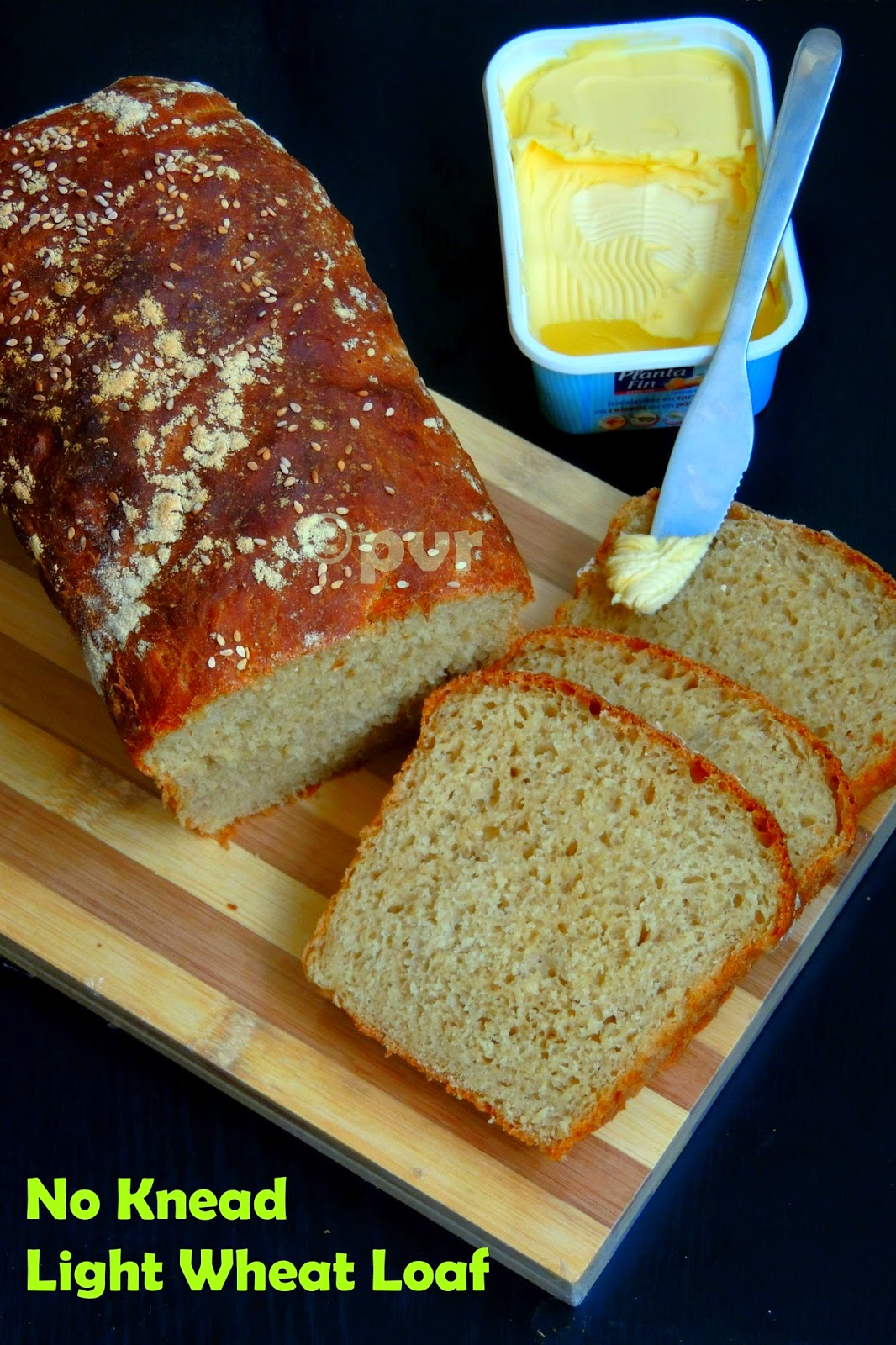 Eggless no knead light wheat loaf, healthy wheat loaf