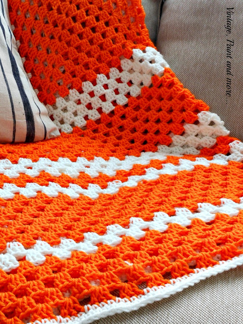 Vintage, Paint and more... crochet afghan done in a granny square pattern of double crochets