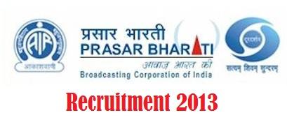 Prasar Bharti Resruitment 2013