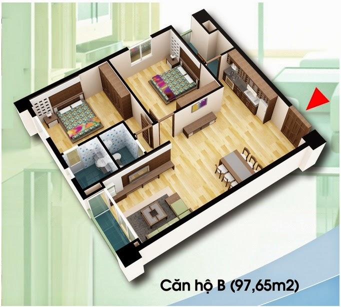 Căn hộ loại B - Chung Cư D2 CT2 Linh Đàm diện tích 97.65 m2