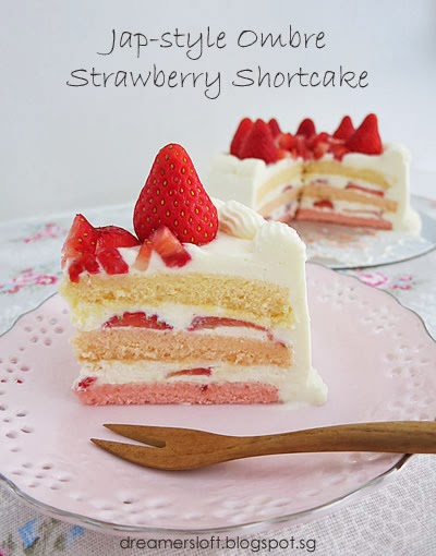 Meg's Pastry Studio: Japanese-style Ombre Strawberry Shortcake