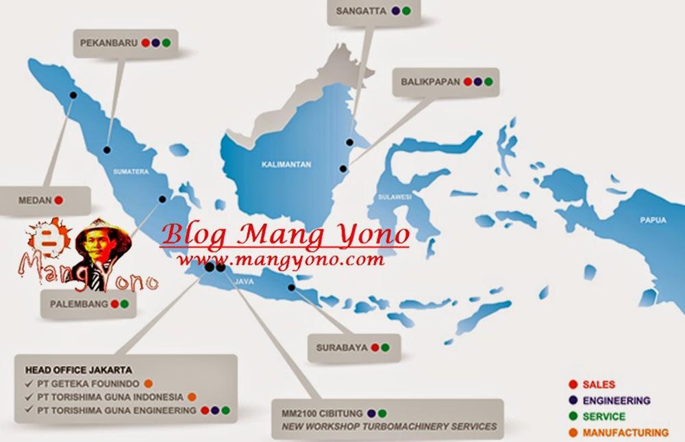 peta proyek atau kantor PT. TGE di Indonesia