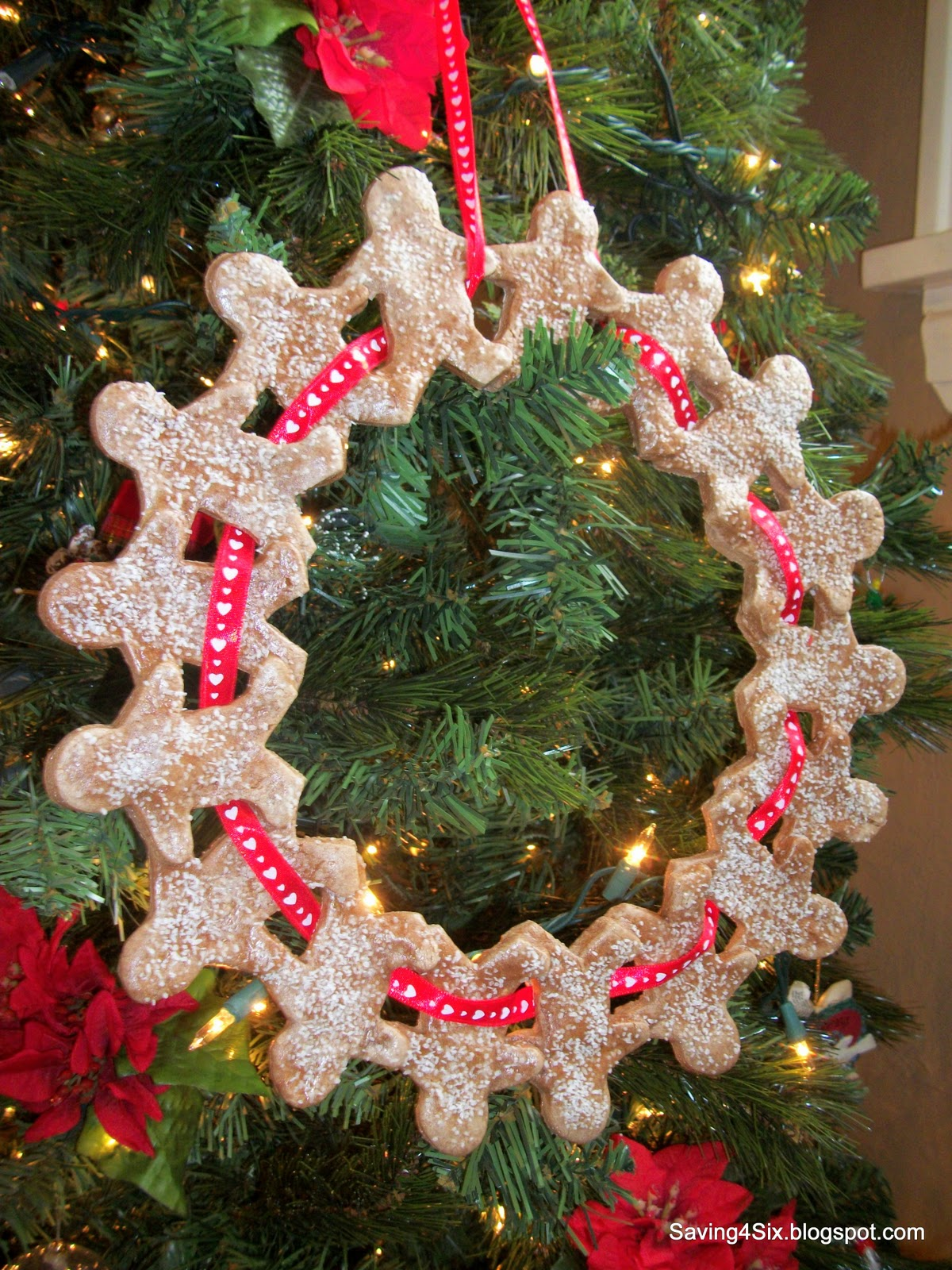 Gingerbread man ornaments - Finally I Weaved A Ribbon In And Out Of The Gingerbread Men And Then Just Tied It At The Top