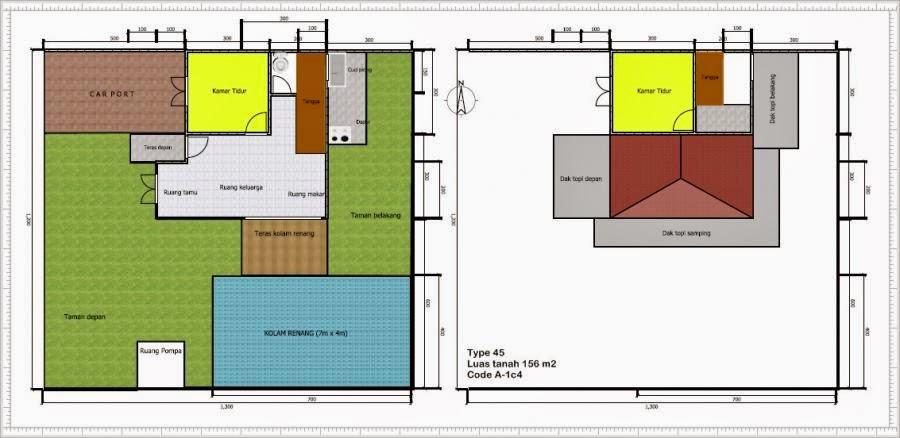 Denah Rumah Type 45 Dengan Kolam Renang