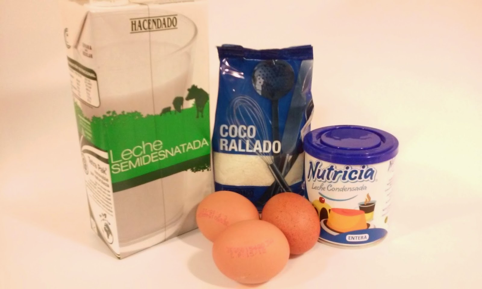 Ingredientes flan de coco