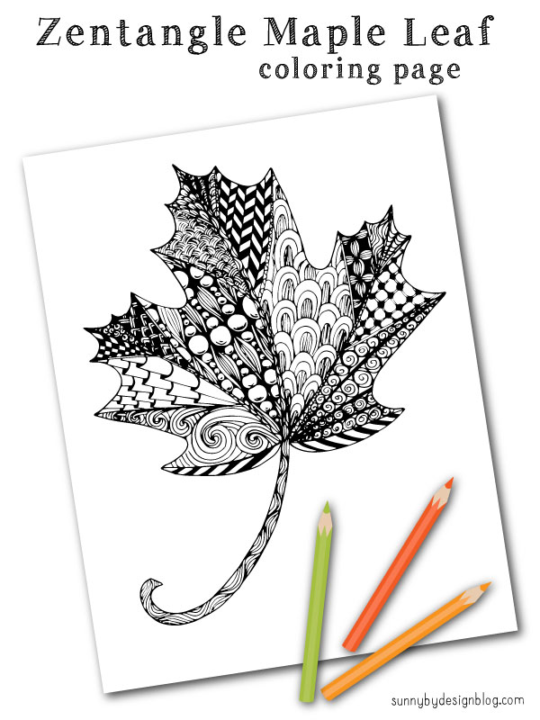 Sunny by Design Zentangle Maple Leaf coloring page