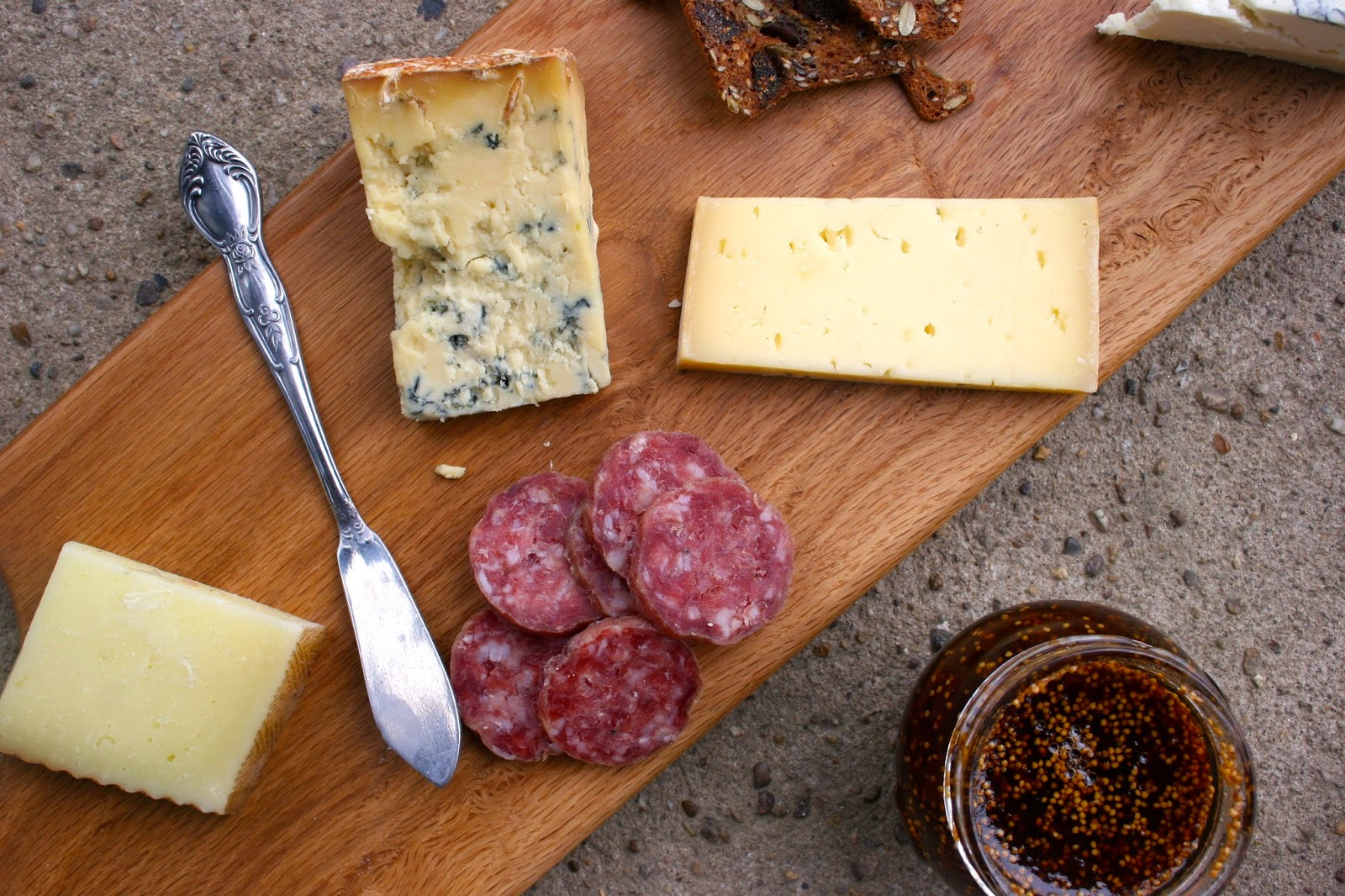 Various Cheeses, Salami, and Fig Jam