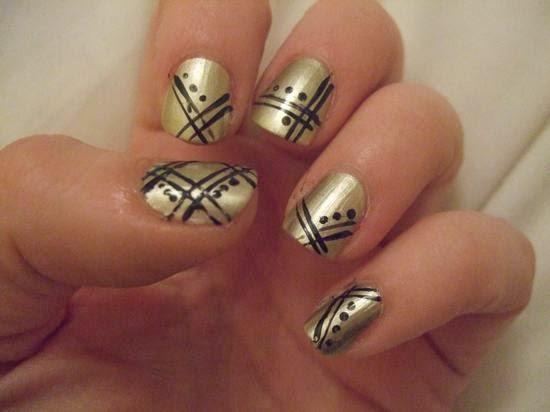 nail art design 2014 black gold nail art designs