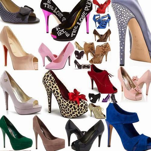 Sapatos de salto alto, bico fino, tipo agulha.