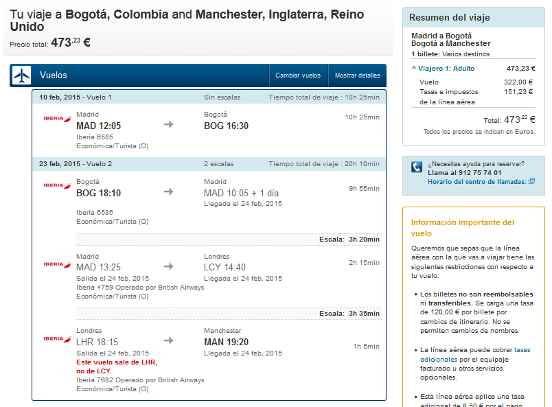 Colombia iberia error fare