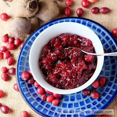 A colorful side dish of cranberries with roasted beets and dried apricots simmered in a sweetened apple cider/orange juice broth. A delicious addition to holiday meals and a terrific way to use farm share beets that gets the whole family to dig in.