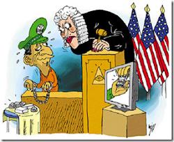 caricatura del juicio en Miami muestra a Sanabria esposado.