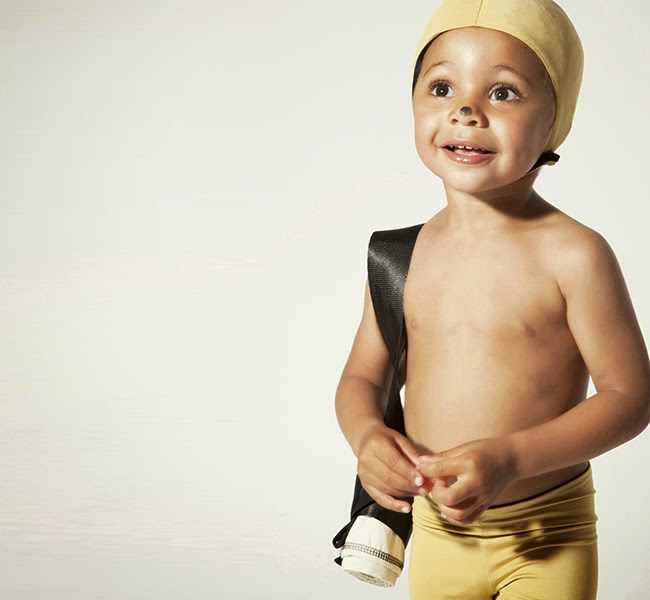 Boys golden swimwear by Little Creative Factory for spring 2014 kids wear collection