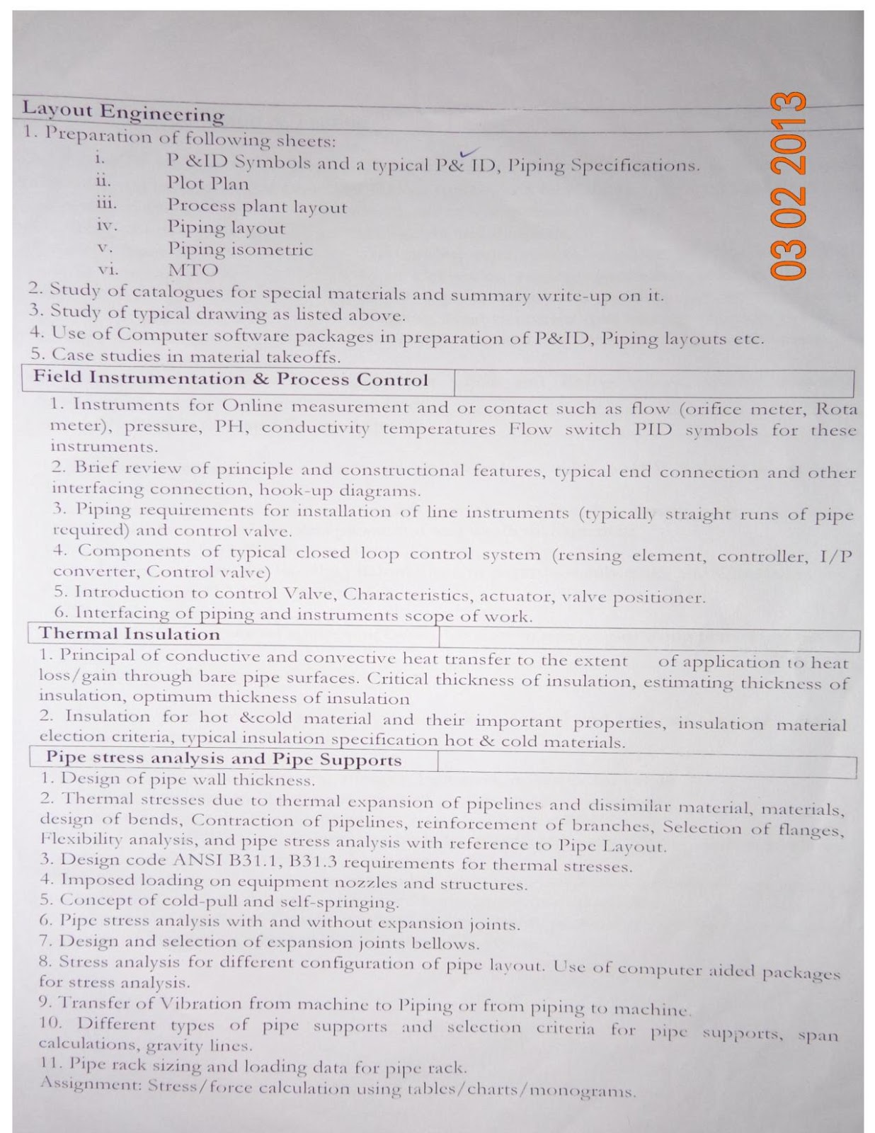 Pg Diploma In Piping Designmit Pune An Insiders Review Layout Course Here Is Their Syllabus Copy