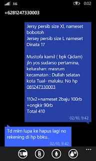 Detail rincian pesanan jersey dan alamat lengkap Mustofa Kamil di enkosa sport lokasi di jakarta pasar tanah abang toko online terpercaya