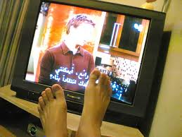 feet watching TV