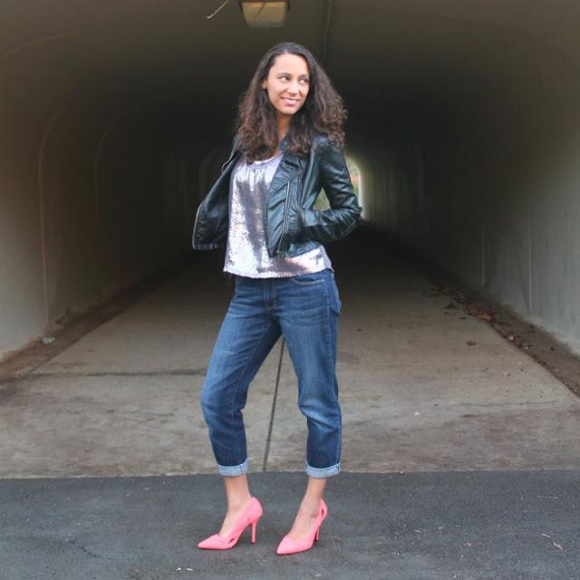 Boyfriend Jeans Leather Jacket Neon Heels Casual
