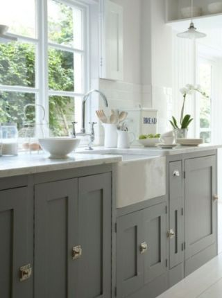 Green Grey Kitchen - Grey colored kitchens