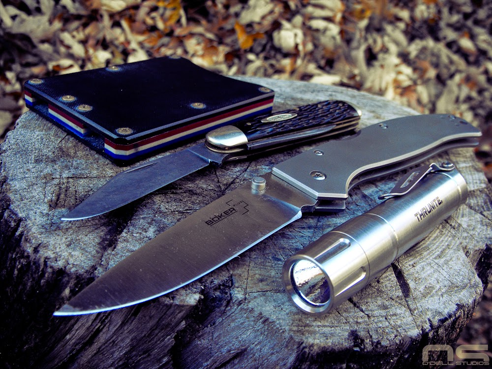 every day carry knife flashlight wallet multitool
