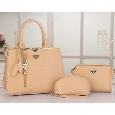 PRADA DESIGNER BAG (3 IN 1 SET) - CREAM