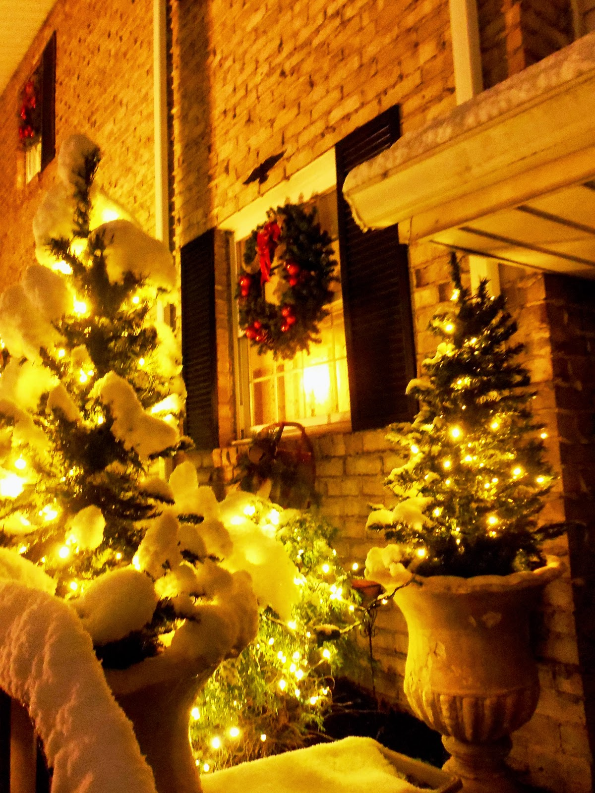 A Debbie Dabble Christmas All Lit Up At Night And Snow