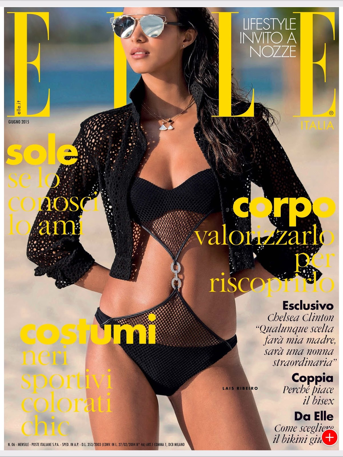 Lais Ribeiro by Hans Feurer for Elle Italia, June 2015