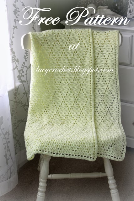 Free Crochet Pattern Lacy Baby Blanket : Lacy Crochet: Diamond Stitch Baby Blanket, Free Pattern