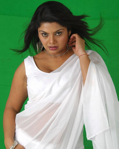 Swetha Aunty looking Hot White Saree