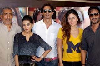 Bollywood director Prakash Jha with actors Ajay Devgn, Kareena Kapoor, Arjun Rampal and Amrita Rao during press conference of the film Satyagraha