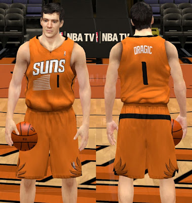 NBA 2K13 New Phoenix Suns Alternate Orange Jersey Sleeved T-Shirt Mod
