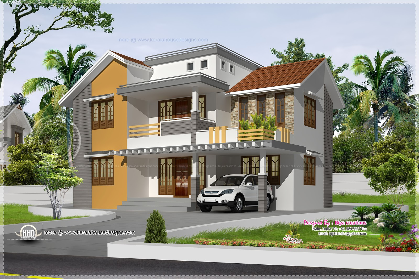 2061 Square Feet 3 Bedroom Home Elevation Kerala Home