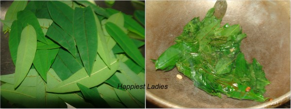 Frying Vitamin Leaves for chutney+indian chutney recipe