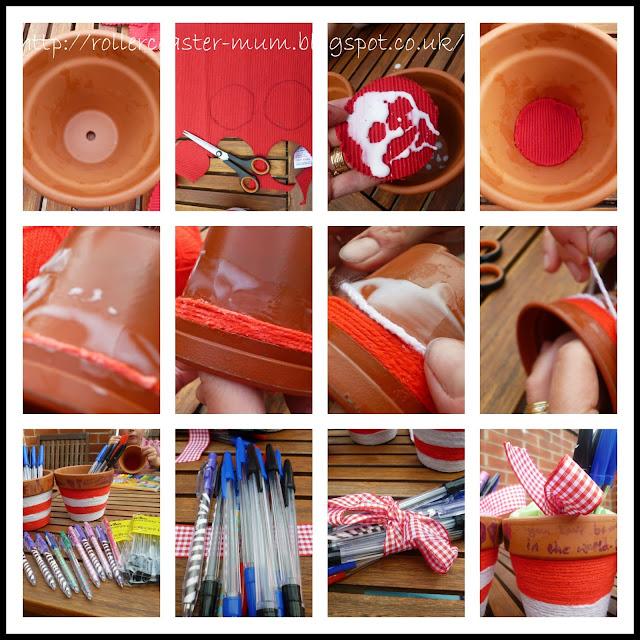yarn wrapped pen pots
