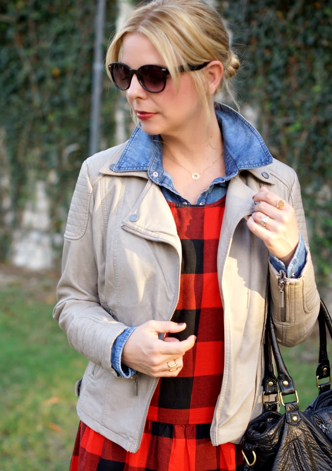 Buffalo Check with a Gray Leather Jacket Fall Layering