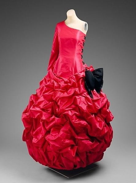 Red and Black One-Shoulder Victorian Evening Dress