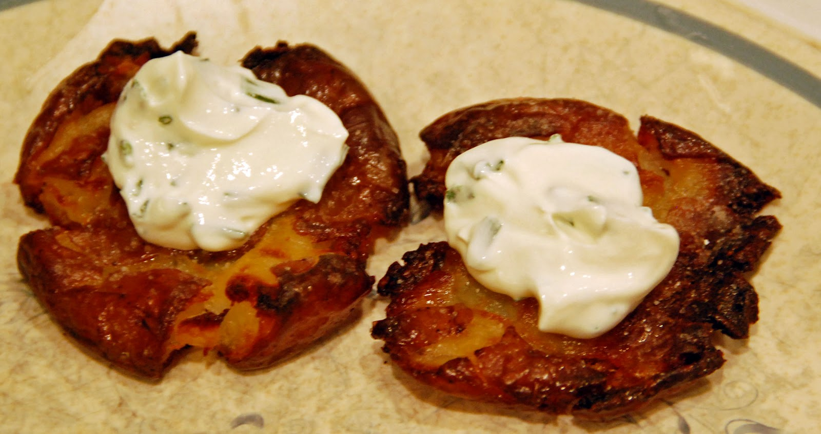 Crispy Smashed Roasted Potatoes with Chive Sour Cream