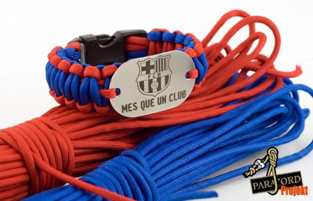 Bransoletka kibica FC Barcelona logo i motto MES QUE UN CLUB