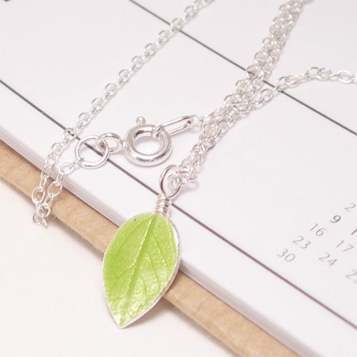 Lime Green Silver Leaf Pendant Necklace: Glass Enamel Silver Leaf