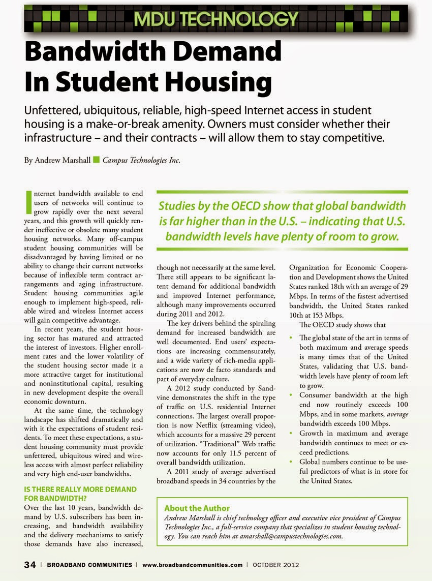 Campus Technologies - Bandwidth Demand in Student Housing
