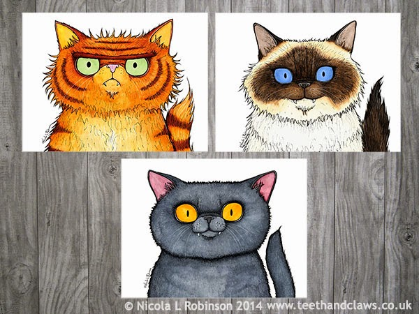 Cat art prints © Nicola L Robinson 2014