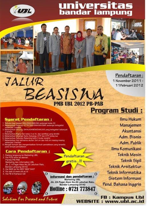 Informasi Beasiswa S1 Tahun 2012 Universitas Bandar Lampung