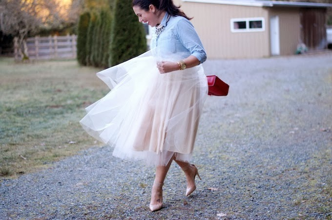 DIY tulle midi skirt and chambray blouse
