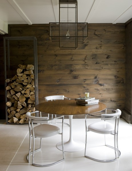 Modern Rustic Design Animal Head Horns Rug Fur Living Room
