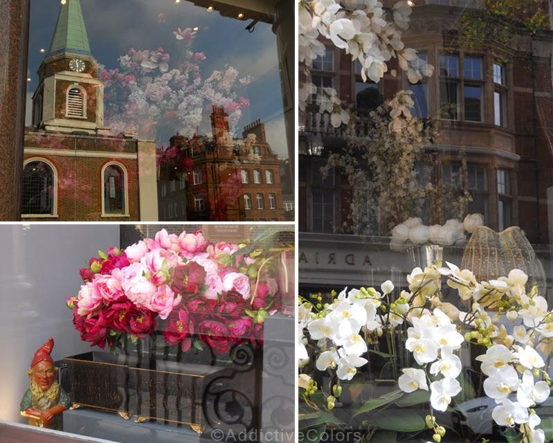 vasi da mettere fuori alle vetrine : Peonie rosa e bordeau col nanetto e orchidee bianche